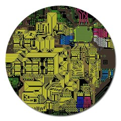 Technology Circuit Board Magnet 5  (round) by Onesevenart