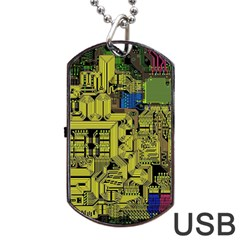 Technology Circuit Board Dog Tag Usb Flash (two Sides) by Onesevenart