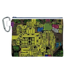 Technology Circuit Board Canvas Cosmetic Bag (l) by Onesevenart