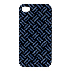 Woven2 Black Marble & Blue Denim Apple Iphone 4/4s Premium Hardshell Case by trendistuff