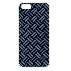 Woven2 Black Marble & Blue Denim Apple Iphone 5 Seamless Case (white) by trendistuff