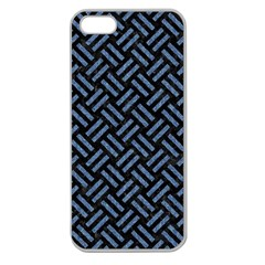 Woven2 Black Marble & Blue Denim Apple Seamless Iphone 5 Case (clear) by trendistuff
