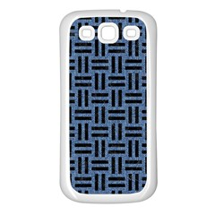 Woven1 Black Marble & Blue Denim (r) Samsung Galaxy S3 Back Case (white) by trendistuff