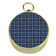 Woven1 Black Marble & Blue Denim (r) Gold Compass by trendistuff