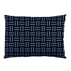 Woven1 Black Marble & Blue Denim Pillow Case by trendistuff
