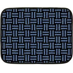 Woven1 Black Marble & Blue Denim Fleece Blanket (mini) by trendistuff