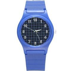 Woven1 Black Marble & Blue Denim Round Plastic Sport Watch (s) by trendistuff