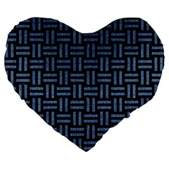 Woven1 Black Marble & Blue Denim Large 19  Premium Flano Heart Shape Cushion by trendistuff