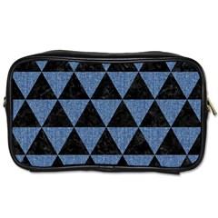 Triangle3 Black Marble & Blue Denim Toiletries Bag (one Side) by trendistuff