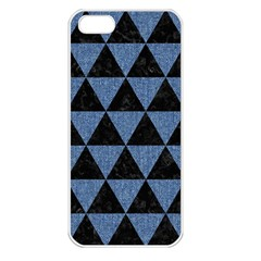 Triangle3 Black Marble & Blue Denim Apple Iphone 5 Seamless Case (white) by trendistuff