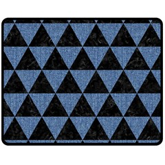 Triangle3 Black Marble & Blue Denim Double Sided Fleece Blanket (medium) by trendistuff