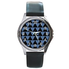Triangle2 Black Marble & Blue Denim Round Metal Watch by trendistuff