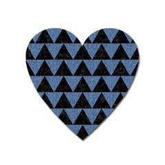 Triangle2 Black Marble & Blue Denim Magnet (heart) by trendistuff