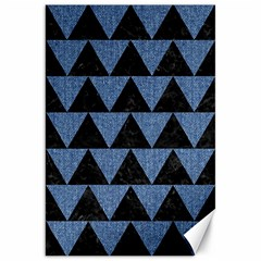 Triangle2 Black Marble & Blue Denim Canvas 20  X 30  by trendistuff