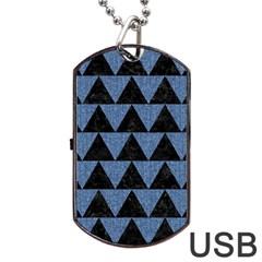 Triangle2 Black Marble & Blue Denim Dog Tag Usb Flash (one Side) by trendistuff