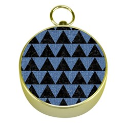 Triangle2 Black Marble & Blue Denim Gold Compass by trendistuff