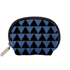 Triangle2 Black Marble & Blue Denim Accessory Pouch (small)