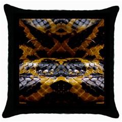 Textures Snake Skin Patterns Throw Pillow Case (black) by Onesevenart