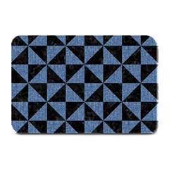 Triangle1 Black Marble & Blue Denim Plate Mat by trendistuff