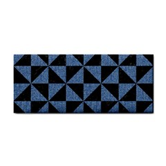 Triangle1 Black Marble & Blue Denim Hand Towel