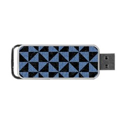 Triangle1 Black Marble & Blue Denim Portable Usb Flash (two Sides) by trendistuff