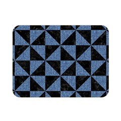 Triangle1 Black Marble & Blue Denim Double Sided Flano Blanket (mini) by trendistuff