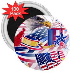 United States Of America Usa  Images Independence Day 3  Magnets (100 Pack) by Onesevenart