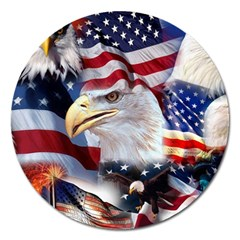 United States Of America Images Independence Day Magnet 5  (round) by Onesevenart