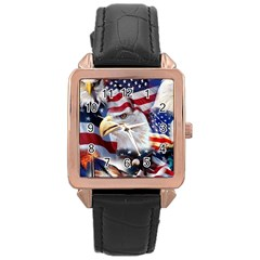 United States Of America Images Independence Day Rose Gold Leather Watch  by Onesevenart