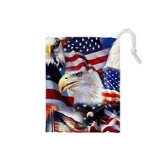 United States Of America Images Independence Day Drawstring Pouches (small)  by Onesevenart