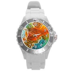 The Beautiful Of Art Indonesian Batik Pattern Round Plastic Sport Watch (l) by Onesevenart
