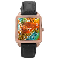 The Beautiful Of Art Indonesian Batik Pattern Rose Gold Leather Watch  by Onesevenart