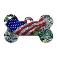 Usa United States Of America Images Independence Day Dog Tag Bone (one Side) by Onesevenart