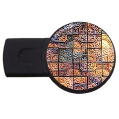 Wooden Blocks Detail Usb Flash Drive Round (2 Gb) by Onesevenart