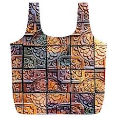 Wooden Blocks Detail Full Print Recycle Bags (l)  by Onesevenart