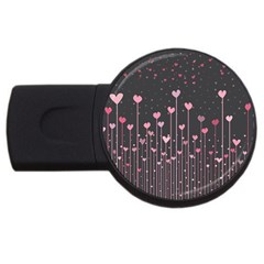 Pink Hearts On Black Background Usb Flash Drive Round (2 Gb) by TastefulDesigns