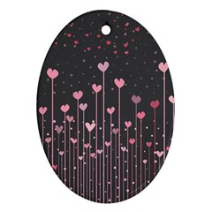 Pink Hearts On Black Background Oval Ornament (Two Sides) by TastefulDesigns