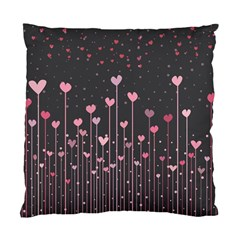 Pink Hearts On Black Background Standard Cushion Case (two Sides) by TastefulDesigns