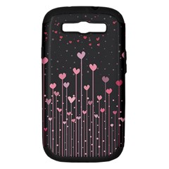 Pink Hearts On Black Background Samsung Galaxy S Iii Hardshell Case (pc+silicone) by TastefulDesigns