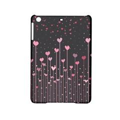Pink Hearts On Black Background Ipad Mini 2 Hardshell Cases by TastefulDesigns