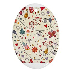 Spring Floral Pattern With Butterflies Ornament (oval)