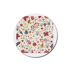 Spring Floral Pattern With Butterflies Rubber Coaster (Round)