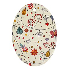 Spring Floral Pattern With Butterflies Ornament (oval) by TastefulDesigns