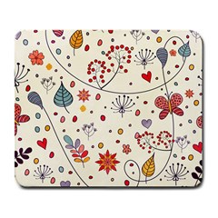 Spring Floral Pattern With Butterflies Large Mousepads by TastefulDesigns