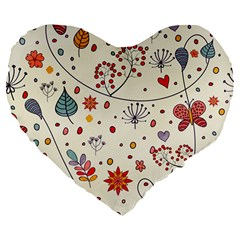 Spring Floral Pattern With Butterflies Large 19  Premium Heart Shape Cushions by TastefulDesigns