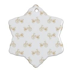Retro Bicycles Motif Vintage Pattern Snowflake Ornament (two Sides) by dflcprints
