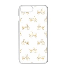 Retro Bicycles Motif Vintage Pattern Apple iPhone 7 Plus White Seamless Case by dflcprints