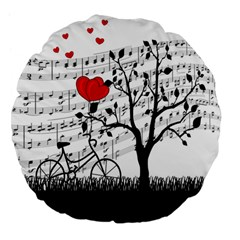 Love Song Large 18  Premium Flano Round Cushions by Valentinaart