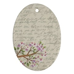 Cherry Blossom Oval Ornament (two Sides) by Valentinaart