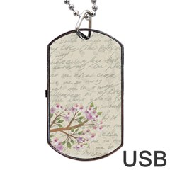 Cherry Blossom Dog Tag Usb Flash (one Side) by Valentinaart